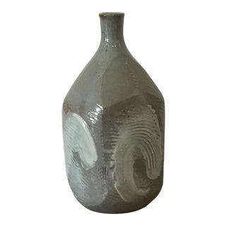 Gray & White Faceted Studio Pottery Vase