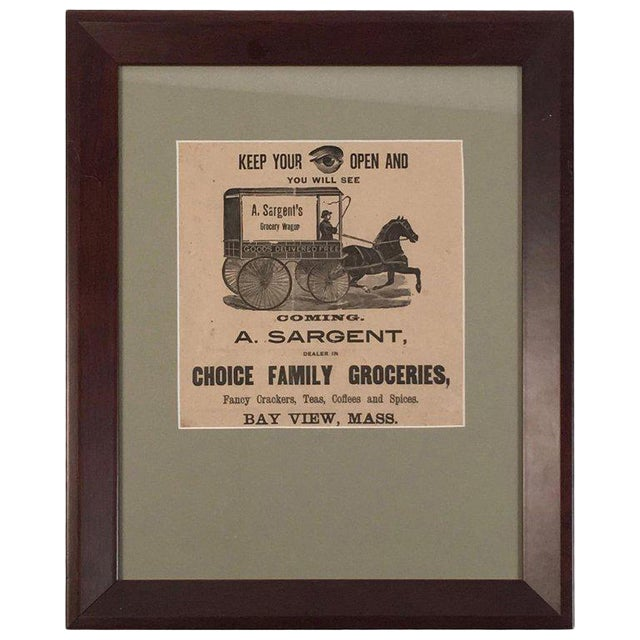 19th Century Rebus Grocery Wagon Advertisement Poster For Sale