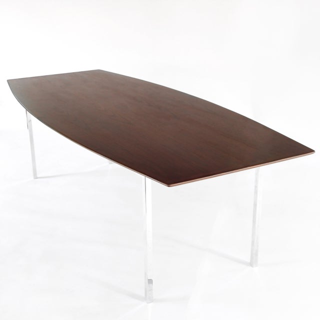 S Mid Century Modern Florence Knoll Walnut And Chrome Dining - Mid century modern conference table