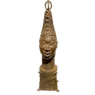 "Lg Benin Bronze Head of King Oba Nigeria African 32.25"" H For Sale"