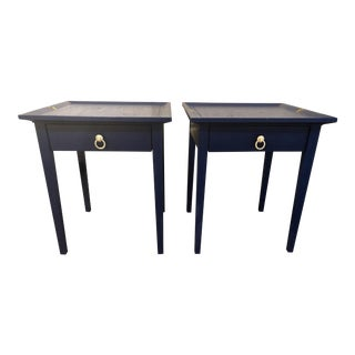 1970s Mid Century Modern Blue Side Tables - a Pair For Sale