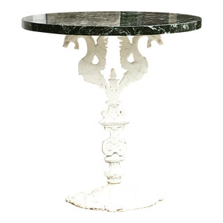 Victorian Iron Griffin Marble Side Table For Sale