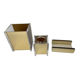 Vintage George Bullio Style Mid-Century Modern Lucite and Gold Mirrored Bathroom Accessories For Sale