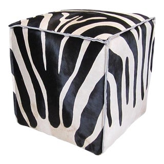 Flanged Black & White Zebra Cube For Sale