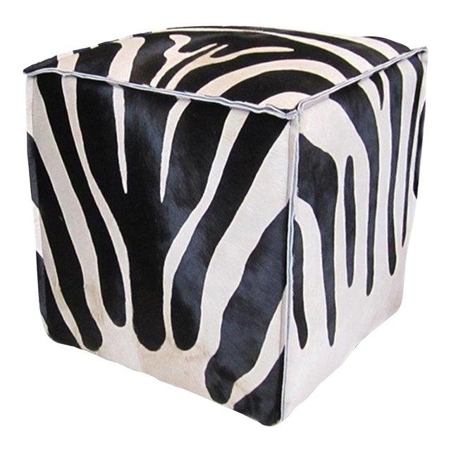 Flanged Black & White Zebra Cube For Sale