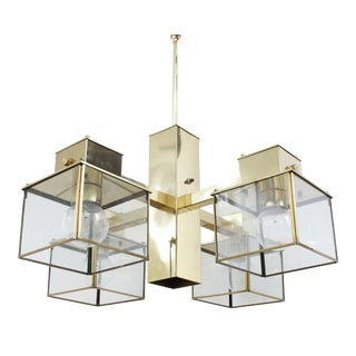 1970s Fredrick Ramond Brass Chandelier For Sale