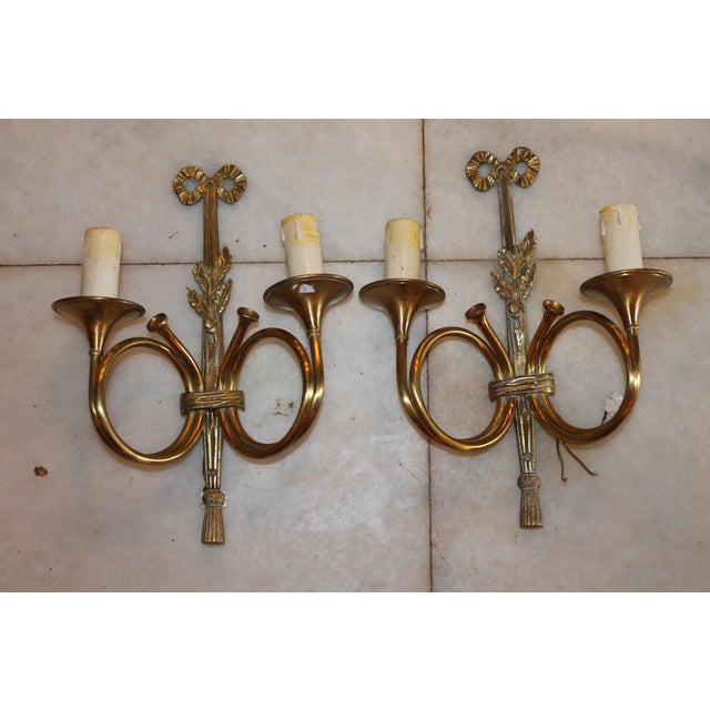 Gorgeous pair of mid-century Maison Bagues Dore bronze weighty circle horn sconces.