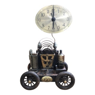 Roger Wood Steampunk Clock on Wheels Sculpture For Sale