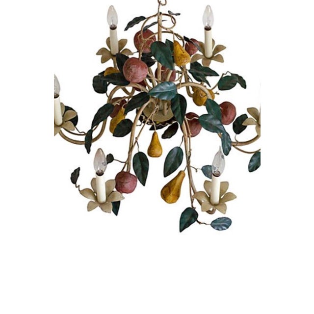 Cottage 1970s Vintage Shabby Chic Tole Chandelier For Sale - Image 3 of 4