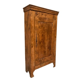 Antique French Tall Pine Armoire Library Bookcase For Sale