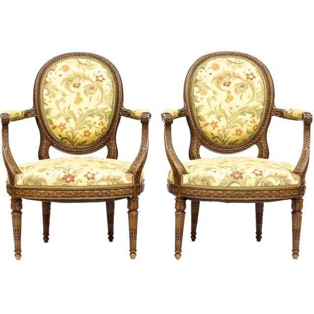 Louis XVI Style Neoclassical Carved Armchairs - a Pair For Sale - Image 10 of 10