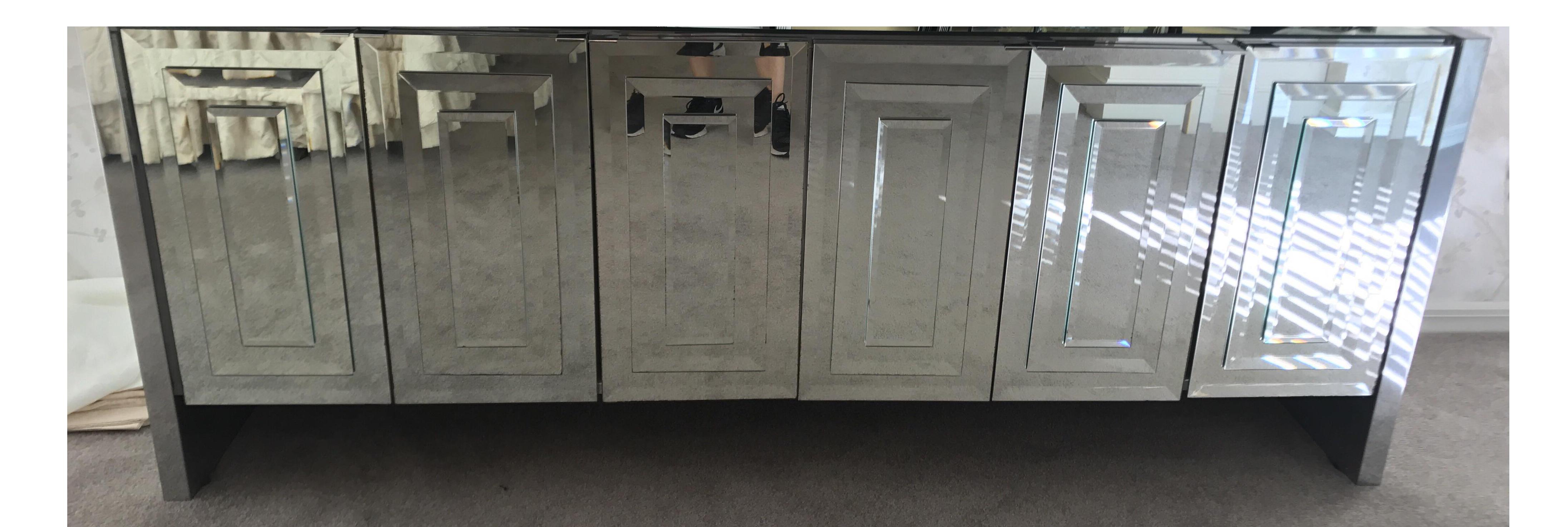 Vintage Ello Six Door Mirrored Credenza