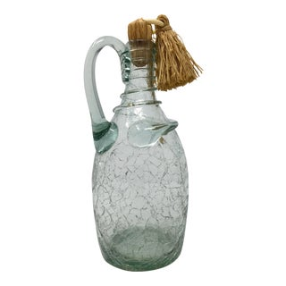 Mid-Century Swedish Crackle Glass Bottle For Sale