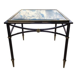 Vintage Mid-Century Jansen Style Steel Profile Base Beveled Glass Top Side Table For Sale
