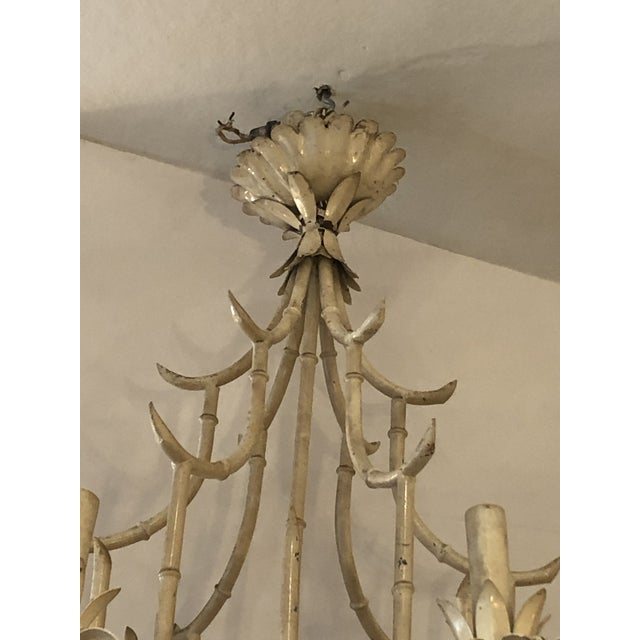 Hollywood Regency Italian Faux Bamboo Painted Iron and Tole Pagoda Style Chandelier For Sale - Image 3 of 8