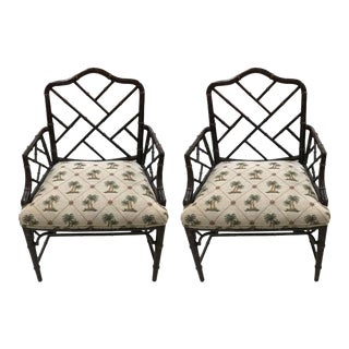 1940s Chinese Chippendale Chairs - a Pair For Sale