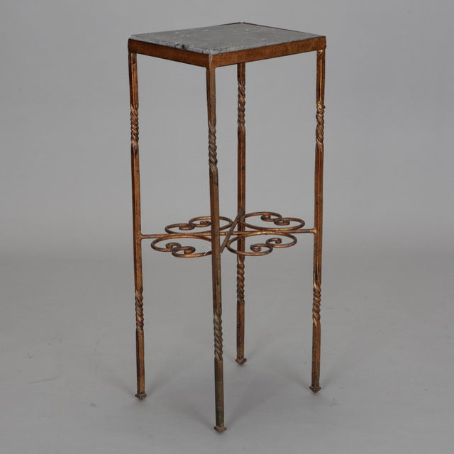 Italian Gilt Iron Statue Stand With Marble Top For Sale In Detroit - Image 6 of 6