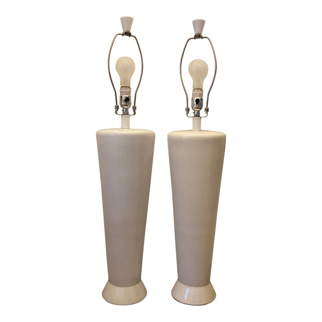 White Mid-Century Modern Ceramic Table Lamps - a Pair For Sale