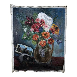 Antique Distressed Floral Still Life Oil Painting on Canvas For Sale