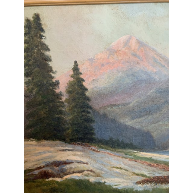 Mountain Landscape With Snow Melt Painting Signed B Weldon For Sale - Image 4 of 6