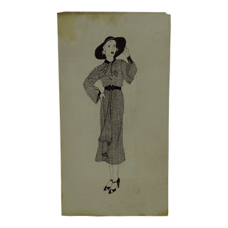 """1930s Mid-Century Modern Fashion Sketch/Drawing, """"Matching Hat - Belt - Shoes"""" For Sale"""