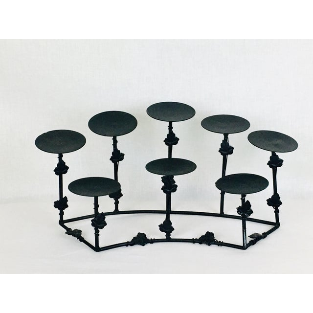 1950s Modern Deco Gothic Wrought Iron Candle Holder For Sale In Atlanta - Image 6 of 6