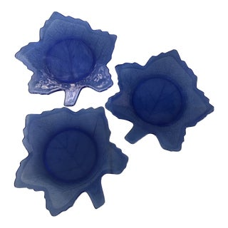 Vintage Cobalt Blue Glass Mt. Pheasant Leaf Plates - Set of 3 For Sale