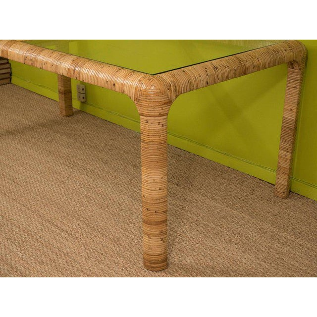 Brown Rattan & Glass Console Table For Sale - Image 8 of 9
