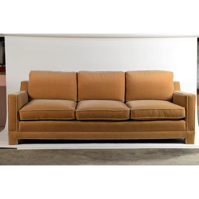 Impeccable Mohair Designer Sofa in the Style of Jean-Michel Frank For Sale - Image 10 of 10