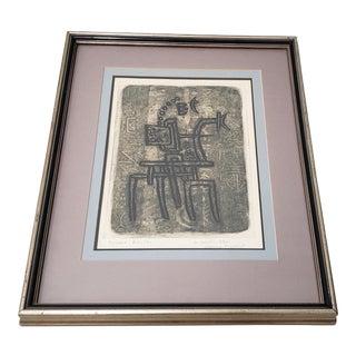 "Max Papart (1911 - 1994) ""The Blue Rider"" Original Etching W/ Aquatint C.1973 For Sale"
