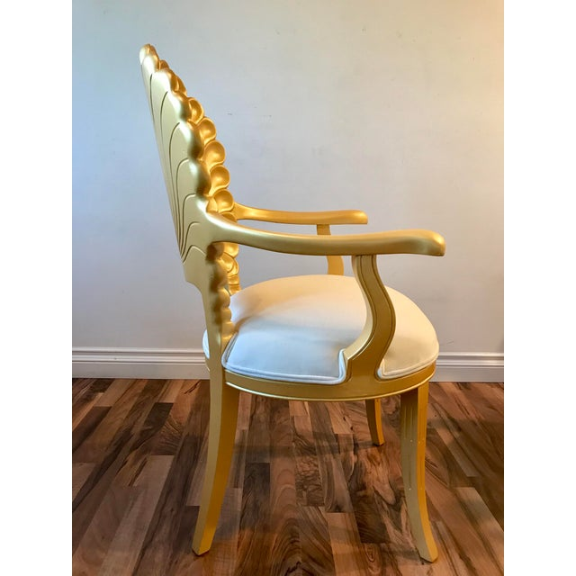 Metal Mid Century Hollywood Regency Venetian Grotto Shell Gold Carved Arm Chairs- 6 Available For Sale - Image 7 of 11