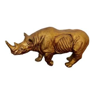 1960s Gold Tone Rhinoceros Statue in Plaster For Sale