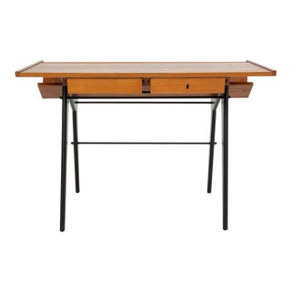 Oak Desk with Integrated Shelf and Ebonized Legs by Hartmut Lohmeyer For Sale