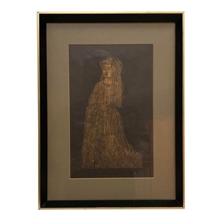Late 20th Century Elizabethan Woman Praying Framed Woodcut For Sale