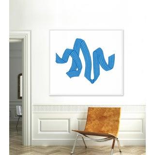 """Large """"Blue Stripe Ribbon"""" Print by Angela Chrusciaki Blehm, 54"""" X 47"""" Preview"""