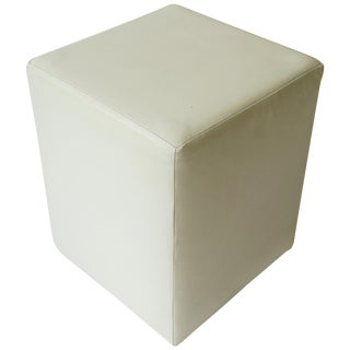 Modern White Leather Stool, Bench or Side Table For Sale