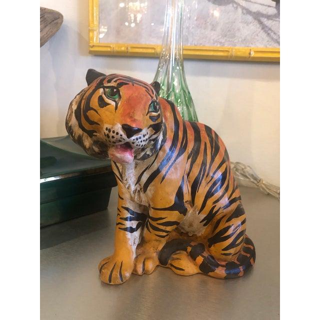Ceramic Vintage Hollywood Regency Italian Terracotta Tiger Statue For Sale - Image 7 of 13