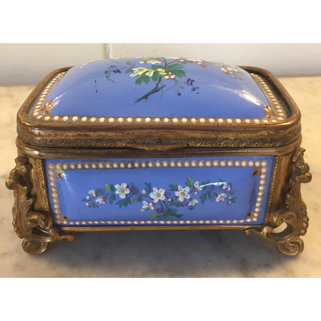 1885 Bronze Gilt and Hand Painted Enameled Cofferette For Sale In Greenville, SC - Image 6 of 12