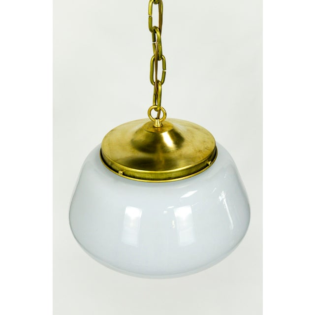 Metal 1970's Modern Schoolhouse Brass Pendant For Sale - Image 7 of 9