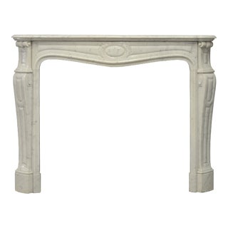 Antique Pompadour Style Fireplace Mantel in Carrara Marble
