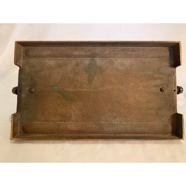 Bronze 1920s Art Deco Glass Panel on Bronze Base For Sale - Image 8 of 13