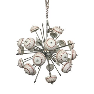 Italian Hand Made Painted Ceramic Sputnik Chandelier For Sale