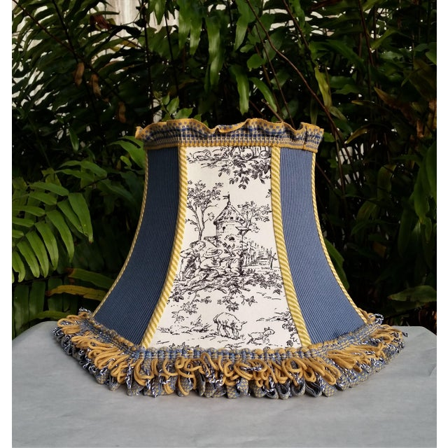 Boho Chic Toile Lampshade Blue Ticking Mustard Stripe Trim For Sale - Image 3 of 10