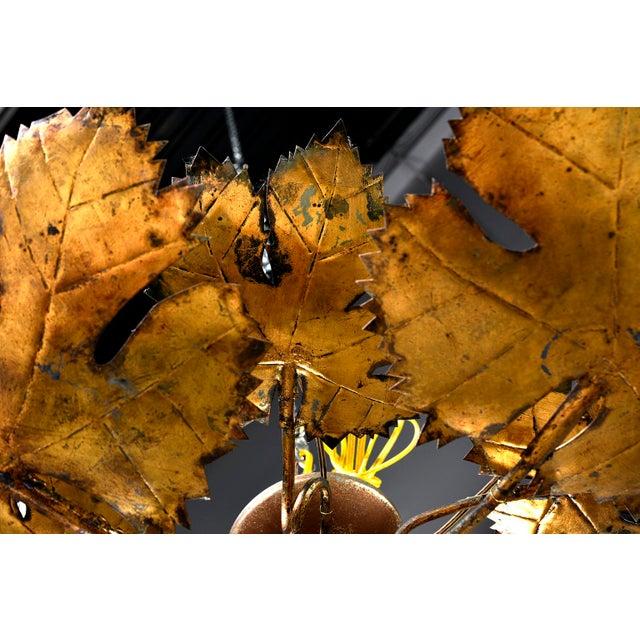 Spanish Gilt Metal Leaf Form Five Light Hanging Fixture For Sale - Image 10 of 13