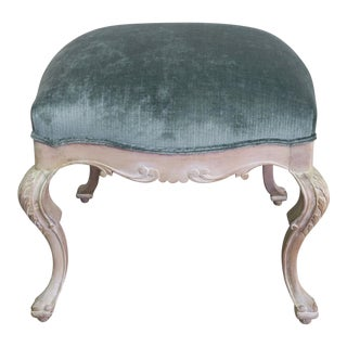 French Carved Painted Velvet Bench