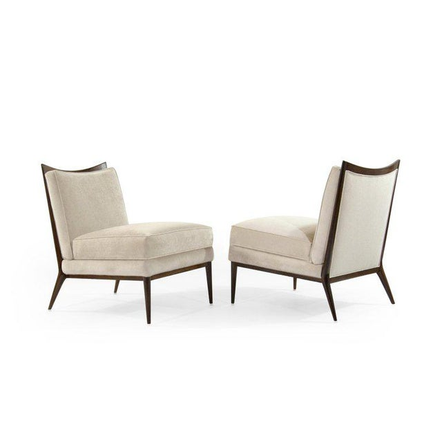 Textile Wanut Frame Slipper Chairs by Paul McCobb for Directional - a Pair For Sale - Image 7 of 12