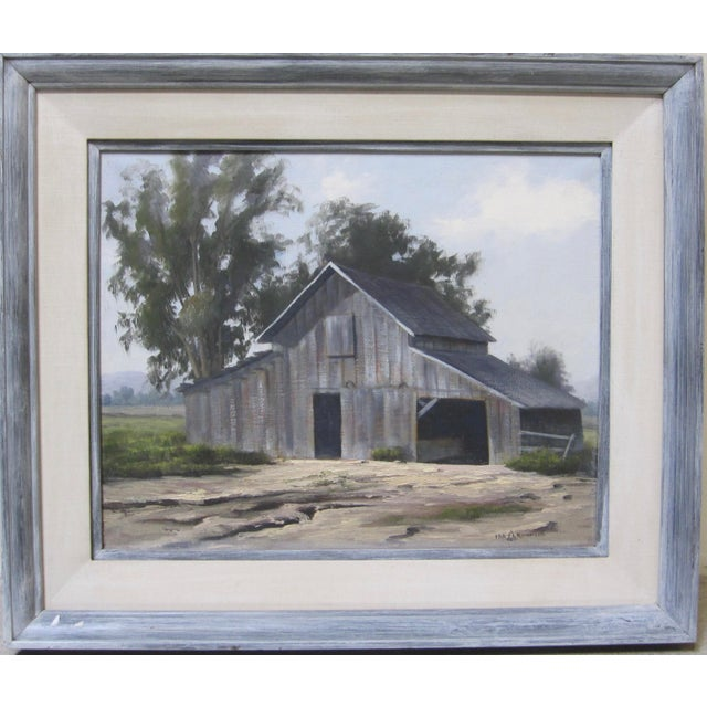 Vintage Barn Painting Signed Original California Landscape Oil For Sale In San Diego - Image 6 of 6
