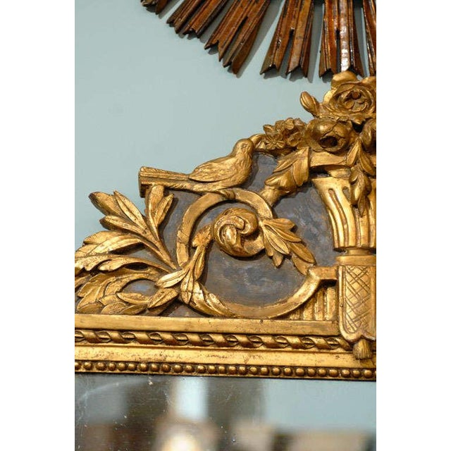 French 19th Century Gilded Carved Mirror With Bird and Rose Motifs For Sale In Atlanta - Image 6 of 11
