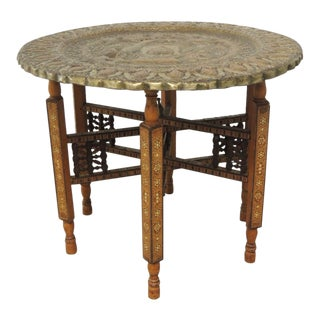 Large Vintage Repoussé Indian Decorative Round Tray Side Table With Wood Stand For Sale