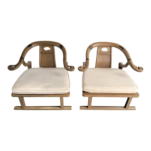 """Baker Furniture, Michael Taylor - Oriental Lounge Chairs, """"Far East Collection"""", 1960's / a Pair For Sale"""